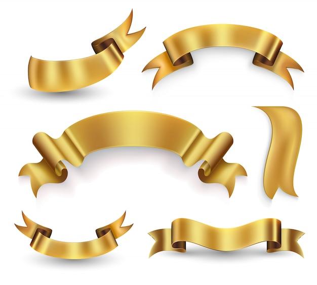 Conjunto de banner de cinta dorada