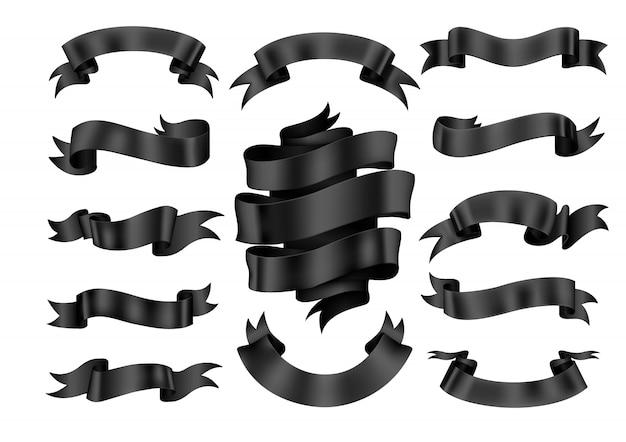 Conjunto de banner de cinta negra