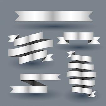 Conjunto de banner de cinta de plata brillante