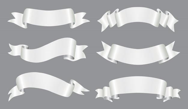 Conjunto de banner de cinta de plata