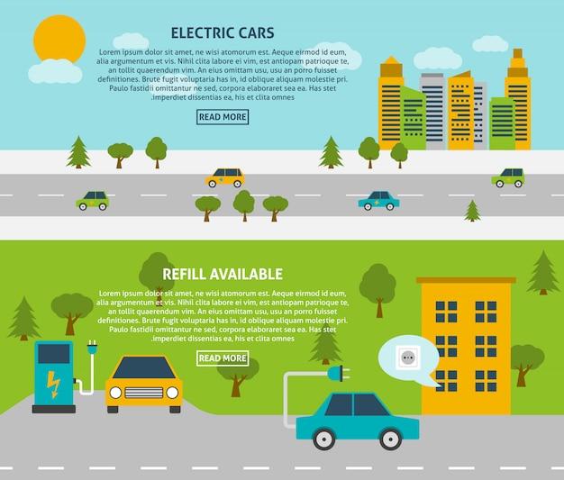 Conjunto de banner de coche eléctrico