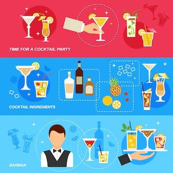Conjunto de banner de cócteles de alcohol