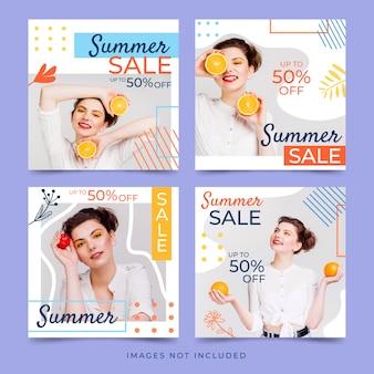 Conjunto de banner de colección de verano de venta