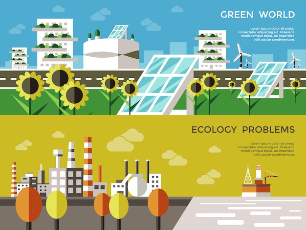 Conjunto de banner coloreado ecología