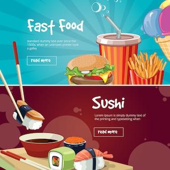 Conjunto de banner de comida rápida
