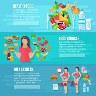 Conjunto de banner de comida sana