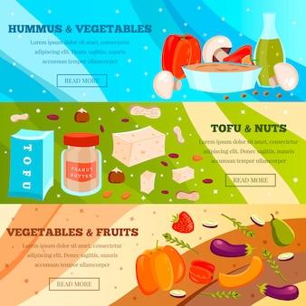 Conjunto de banner de comida vegetariana