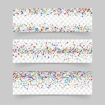 Conjunto de banner de confeti colorido diminuto que cae