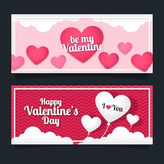 Conjunto de banner de corazón de san valentín