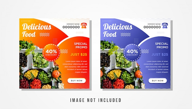 Conjunto de banner cuadrado de deliciosa comida para actualización de redes sociales con degradado naranja y púrpura suave.