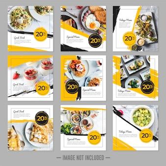 Conjunto de banner cuadrado de restaurante comida redes sociales plantilla de publicación