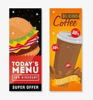 Conjunto de banner de deliciosa oferta de comida rápida