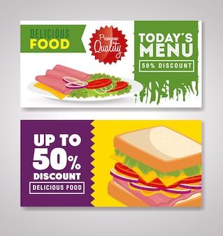 Conjunto de banner deliciosa oferta de comida rápida