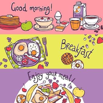 Conjunto de banner de desayuno