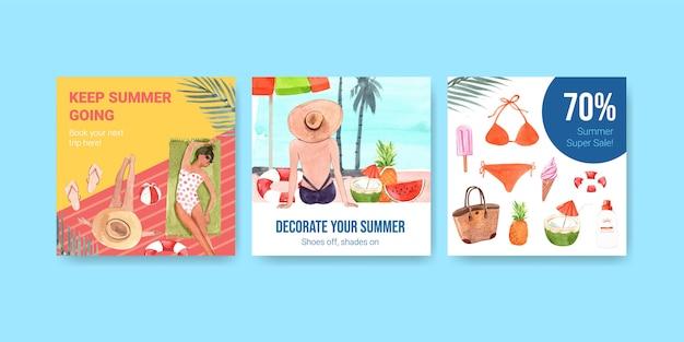 Conjunto de banner de descuento de verano dibujado a mano
