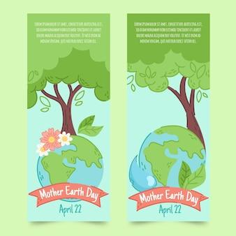 Conjunto de banner del día de la madre tierra dibujado a mano