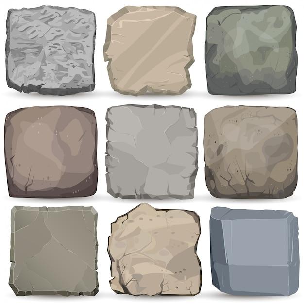 Conjunto de banner de dibujos animados de piedra roca. panel cuadrado de piedra. gran estilo plano de roca.