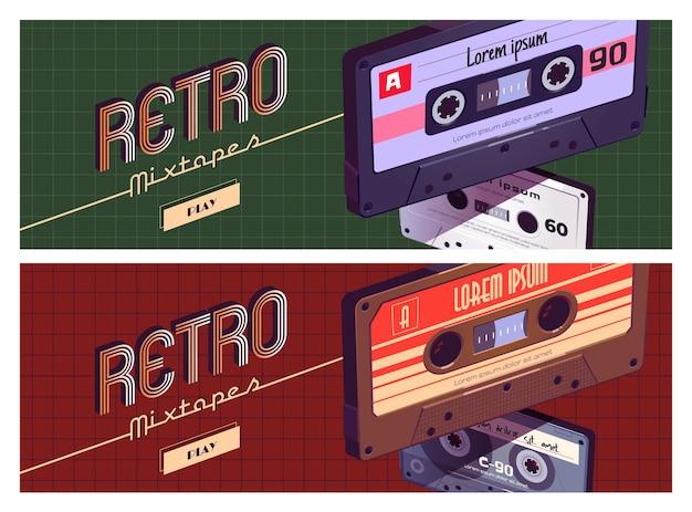 Conjunto de banner de dibujos animados retro mixtapes