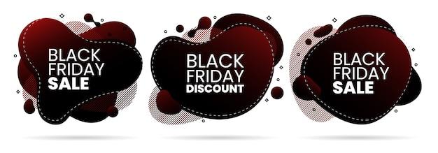 Conjunto de banner de diseño abstracto líquido de promoción de venta de viernes negro líquido