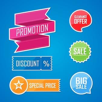 Conjunto de banner de diseño de etiqueta de elementos planos de oferta. ilustración