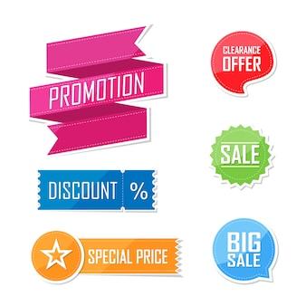 Conjunto de banner de diseño de etiqueta de elementos planos de oferta