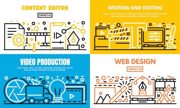 Conjunto de banner de editor de contenido, estilo de contorno