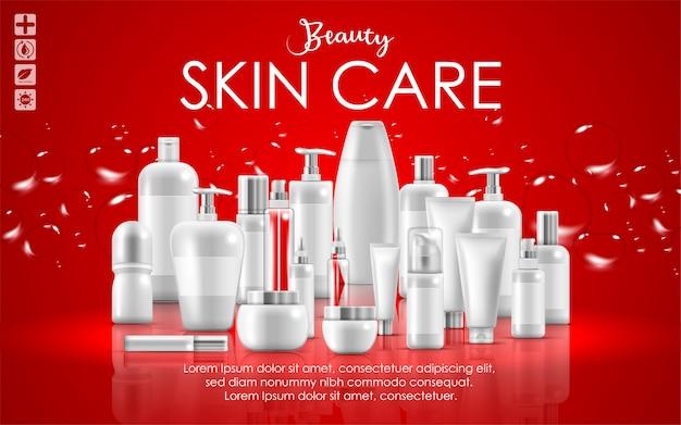 Conjunto de banner de embalaje de productos de belleza natural de cuidado de la piel