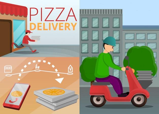 Conjunto de banner de entrega de pizza, estilo de dibujos animados