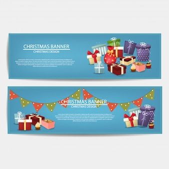 Conjunto de banner de feliz navidad