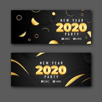 Conjunto de banner de fiesta de año nuevo 2020