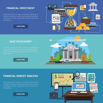 Conjunto de banner de finanzas horizontales