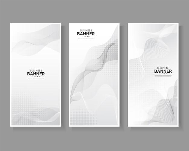 Conjunto de banner con fondo abstracto blanco.
