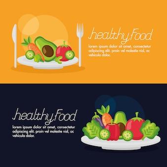 Conjunto de banner fresco de alimentos saludables