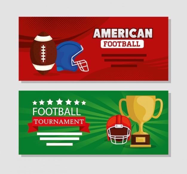 Conjunto de banner de fútbol americano con decoración