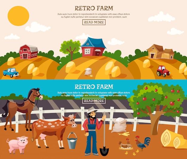 Conjunto de banner de granja