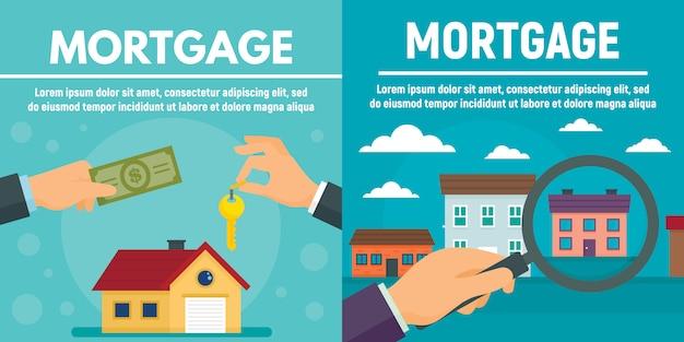 Conjunto de banner hipotecario, estilo plano