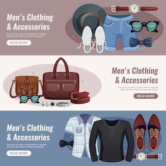 Conjunto de banner horizontal de accesorios para hombres