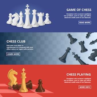Conjunto de banner horizontal de ajedrez.