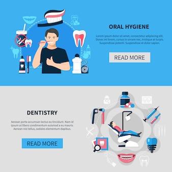 Conjunto de banner horizontal dental