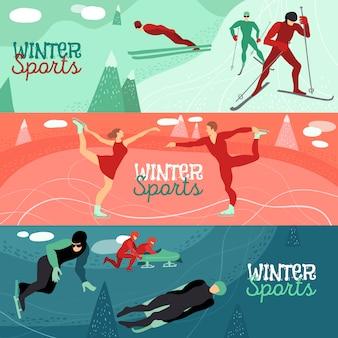 Conjunto de banner horizontal de deportes de invierno