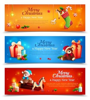 Conjunto de banner horizontal de dibujos animados de año nuevo