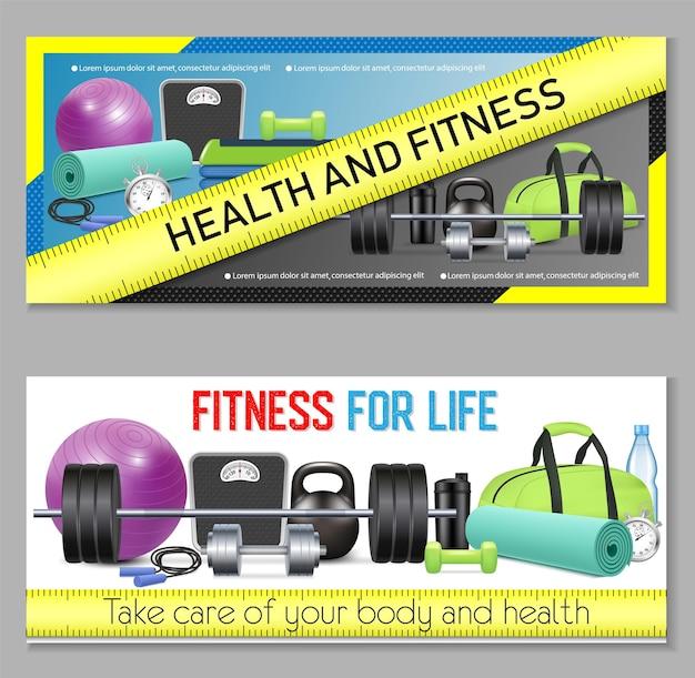 Conjunto de banner horizontal de fitness. salud y belleza