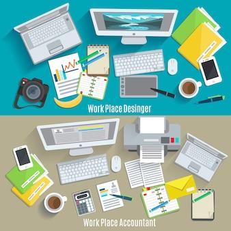 Conjunto de banner horizontal de lugar de trabajo de diseñador y contable
