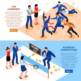Conjunto de banner horizontal de negocio de competencia
