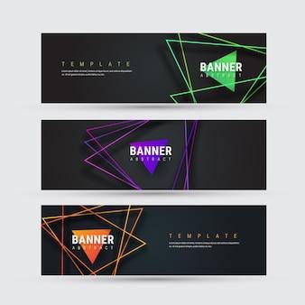 Conjunto de un banner horizontal negro con líneas de intersección triangulares multicolores con sombra