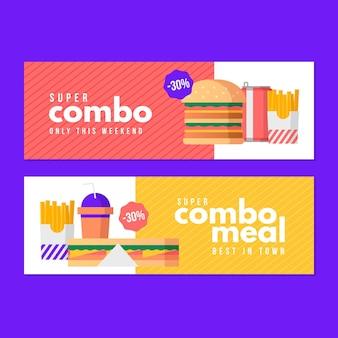 Conjunto de banner horizontal para ofertas combinadas