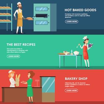 Conjunto de banner horizontal de panaderos de varios personajes en el trabajo
