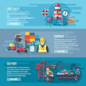 Conjunto de banner horizontal puerto de mar