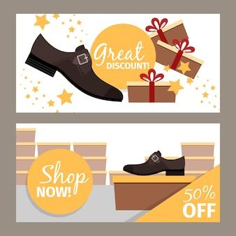 Conjunto de banner horizontal de zapatos de hombre para tienda.