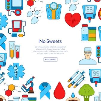 Conjunto de banner de iconos de diabetes color